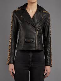 laurel leopard and black leather biker jacket