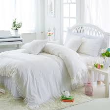 princess white bedding set luxury 4 ruffles duvet cover bed skirt bedspread bedclothes cotton twin queen king size bedding sheet sets from merlle