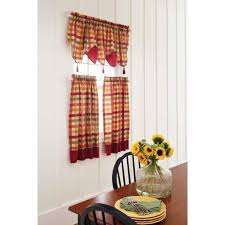Red And Yellow Kitchen Black Kitchen Curtains Pinecone Backtab Sheer Kitchen Curtains