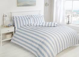 easy care morley stripe bed set blue and white