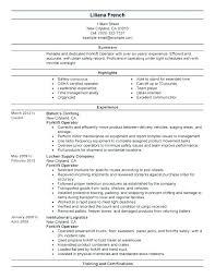 Resume For Forklift Operator Digiart