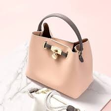 pink faux leather bucket bag