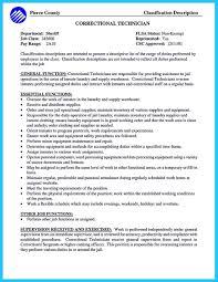Correctional Officer Job Description Resume Sample For Entry