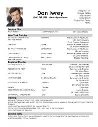 Special Skills For Acting Resume Acting Resume Example Resumes Examples For Beginners Sample No 97