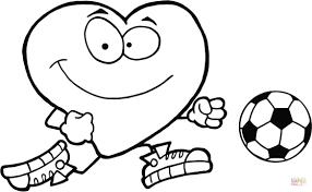 Disegno Di Cuoricino Rosso Con Pallone Da Calcio Da Colorare Con