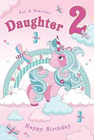 Clouds Design Daughter 2 2nd Unicorn Clouds Design Happy Birthday Card Lovely