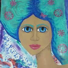 Blue haired girl by Myra Dye   Blue haired girl, Aurora sleeping ...