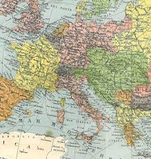 Europe Political Map Vintage 1910s Home Decor To Frame Etsy