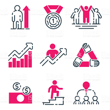 motivation concept chart pink icon business strategy development 1 credit