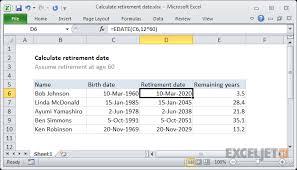 Excel Formula Calculate Retirement Date Exceljet