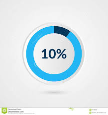 10 Pie Chart 10 Percent Blue Grey And White Pie Chart Percentage Vector