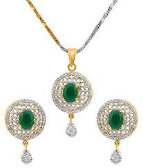 50 off on alysa cz american diamond green pendant set on snapdeal paisawapas com