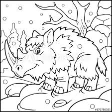 cartoon woolly rhino coloring book