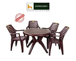 round dining table and chairs. Kisan Elegant Round Dining Table Set 1+4 (Brown) - HOMEGENIC And Chairs