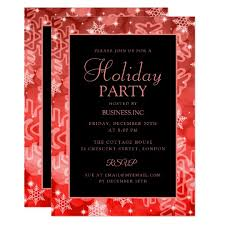 Formal Christmas Party Invitations Red Snowfalkes Sparkles Holiday Party Invitation