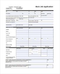 Mock Application Form Sample Job Application Form 24 Documents In Pdf Word