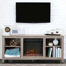 Tv Stand Walker Edison Driftwood Tv Stand With Fireplace Insert For Tvs Up