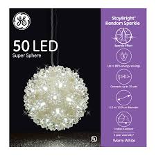 Super Sphere Lights Ge 5 5 In Hanging Super Sphere Light Display With 50 White Led Lights
