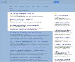 google results for get car insurance search showing ads