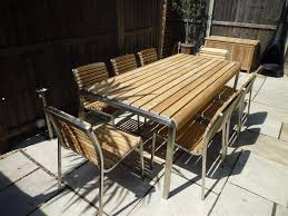 view the full image teak and stainless steel 6 seater set shown with 8 chairs optional