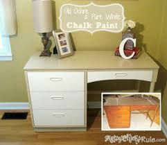 Retro Desk Makeover with Chalk Paint beforeafter