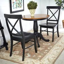 international concepts black cherry 3 piece dining set with round dining table
