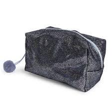black glitter foil makeup bag