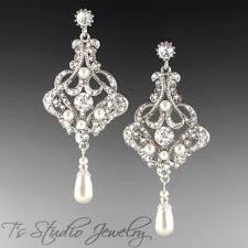 long pearl bridal chandelier earrings silver clear crystal rhinestones