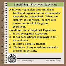 simplifying fractional exponents