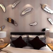 image is loading 8x diy feather 3d mirror wall art stickers  on 3d mirror wall art stickers with 8x diy feather 3d mirror wall art stickers decal home bedroom mural