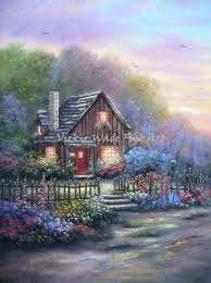 wall arts country canvas wall art cottage at night original oil painting house flowers evening