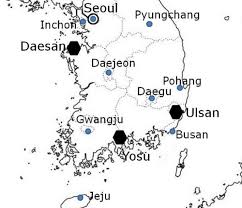 progress of chemistry in south korea chemistry international fig 10 location of ulsan yosu and daesan petrochemicals complexes