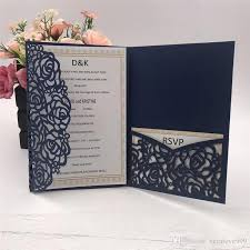 Envelope Wedding 2018 Navy Blue Laser Cut Pocket Wedding Invitation Suites Customizable Invites With Envelope Wedding Accessory Blank Inner Custom