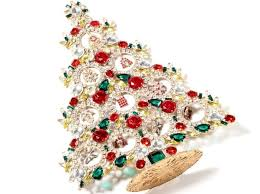 FREE STANDING LARGE VINTAGE CHRISTMAS TREE CZECH RHINESTONE CABOCHON RED  GREEN