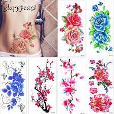 Glaryyears 3 шт лот довольно цветущий цветок цветной рисунок тела татуировки