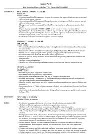 Leasing Manager Resume Samples Velvet Jobs