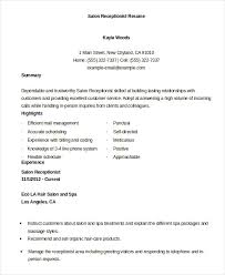 hair salon receptionist resume. receptionist resume example 9 free word pdf  documents download .