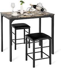COSTWAY <b>3</b>-<b>Piece</b> Kitchen Bar <b>Dining Set</b> with 2 Chairs Balcony ...