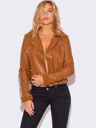 womens caramel brown faux fur collar vegan leather biker jacket