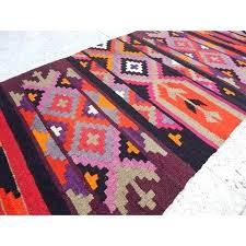 pink kilim rug foot vintage handmade multi color pink orange tribal rug hall runner