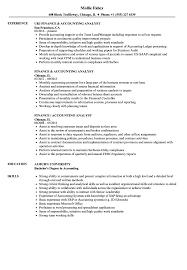 Finance Accounting Analyst Resume Samples Velvet Jobs