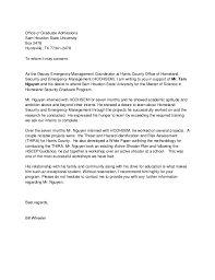 University Of Houston Recommendation Letter Reference Letter Graduate School