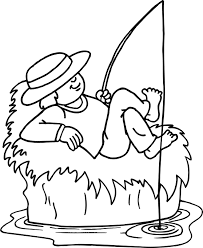 Small Picture Girl fishing coloring page