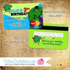 Credit Card Party Invitations Hulk Birthday Invitations Homemade Hulk Birthday Invitations Credit