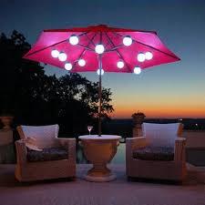 solar patio lighting under umbrella canopy