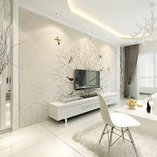 Simple hand painted murals of trees and birds fashionable bedroom TV