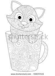 kitten in a cup coloring book for s vector ilration anti stress coloring for