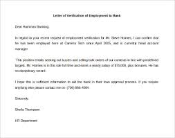 Ideas Of Employment Verification Letter Sample For Bank Loan