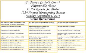 st mary s bazaar st mary and st joseph catholic community sm 2016 raffle ticket