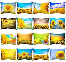 Bluns Throw Pillow Covers <b>Sunflower Printed</b> Rectangle Throw ...